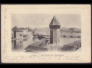 AK Luzern Kapellblücke und Wasserthurm 1916 (12264
