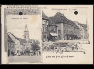 AK Sulz Oberelsass Marktplatz Kirche Hotel zwei Schlüssel J. Laucher (12281