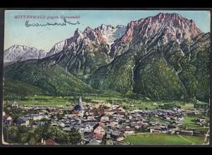 AK Mittenwald gegen Karwendel Gesamtansicht 1943 (12303