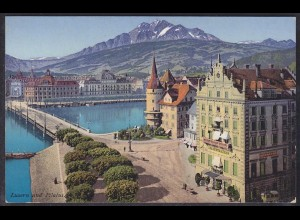 AK Schweiz Luzern Hotel Brücke Bahnhof (12424