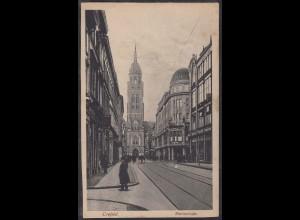 AK Crefeld Rheinstraße mit Dionysiuskirche Fedpost 1917 (12457