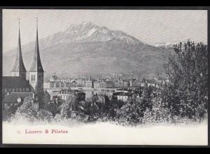 AK Luzern Pilatus Kirche Alpen Gesamtansicht Schweiz (12477