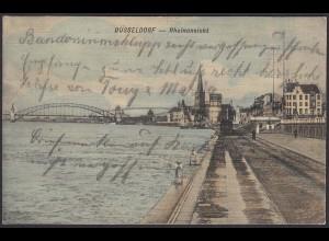AK Düsseldorf Rheinansicht Brücke 1903 (12508