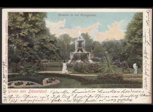 AK Düsseldorf Brunnen in der Königsallee 1908 (12511
