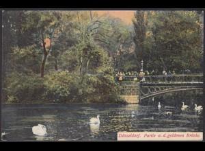 AK Düsseldorf Partie a. d. goldenen Brücke 1906 (12512