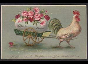 AK Fröhliche Ostern PrägekarteHahn Ei Wagen 1906 (17475