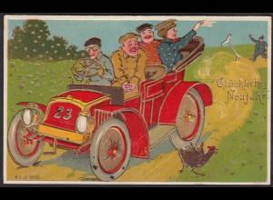AK Glückliches Neujahr 1910 Prägedruck Auto Golddruck (17473