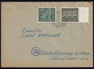 Eschau über Aschaffenburg Überstempel Landpost 1960 (17511