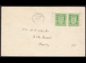 Jersey Deutsche Besetzung Mi. 1 Paar auf FDC 29-1-1942 (17625