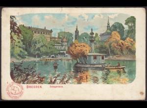 AK Künstler Postkarte Zwingerteich Dresden (12579