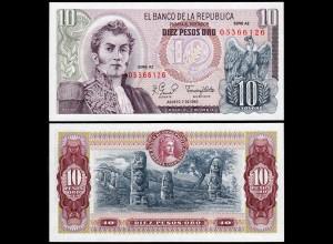 KOLUMBIEN - COLOMBIA 10 Pesos Oro 1980 UNC Serie AZ Pick 407h (14261