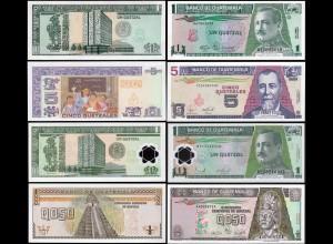 Guatemala - 1/2, 1, 1, 5 Quetzals Banknoten 1989/2007 UNC (14287