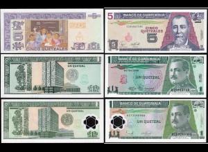 Guatemala - 1, 1, 5 Quetzals Banknoten 1990/2007 UNC (14291