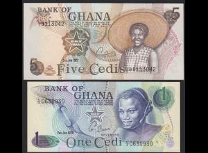 Ghana 1 + 5 Cedis Banknoten UNC 1976/1977 (14146