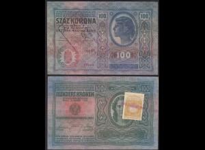 Österreich/Ungarn 100 Kr. Jugoslawien ex Staaten mit Briefmarke und Stempel