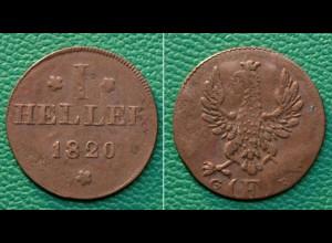 Frankfurt Altdeutsche Staaten 1 Heller 1820 G/F (17849