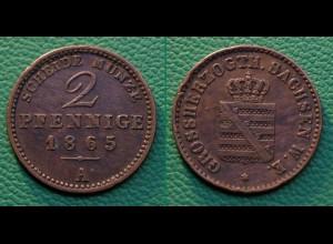Sachsen-Weimar-Eisenach 2 Pfennig 1865 A (17860