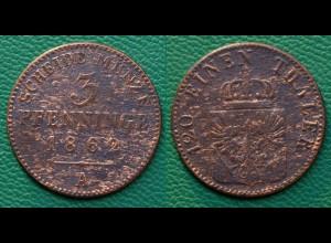 Brandenburg-Preußen 3 Pfennig 1863 A - Wilhelm I. 1861-1888 (17862
