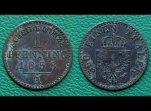Brandenburg-Preußen 1 Pfennig 1858 Friedrich Wilhelm IV. 1840-1861 (17865
