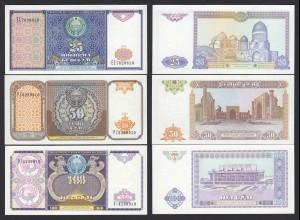 USBEKISTAN - UZBEKISTAN 25, 50, 100 Sum Banknote 1994 Pick 77/79 UNC