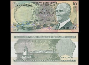 Türkei - Turkey 10 Lira Banknote 1970 (1975) Pick 186 UNC ATATÜRK (17892