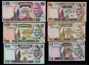 Sambia - Zambia 1 - 50 Kwache 6 Stück Banknoten ab 1980 UNC (17968