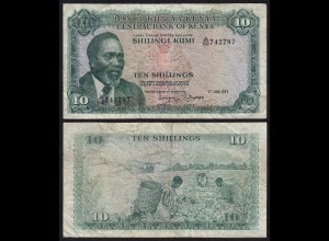 KENIA - KENYA 10 Shillings Banknote 1973 Pick 7d F (18020