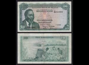 KENIA - KENYA 10 Shillings Banknote 1973 Pick 7d VF kl.Einriss (18021