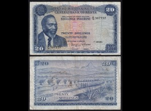 KENIA - KENYA 20 Shillings Banknote 1973 Pick 8d F/VF (18038