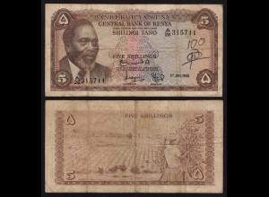 KENIA - KENYA 5 Shillings Banknote 1968 Pick 1c F (18050