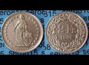 Schweiz Switzerland 2 Fr. 1940 Silber SILVER COIN (602
