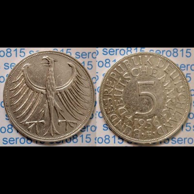 5 DM Silber-Adler Silberadler Münze 1956 F Jäger 387 BRD (p014