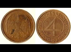 4 Pfennig 1932 A sogenannter Brueningpfennig/Taler - Jaeger 315 (n631