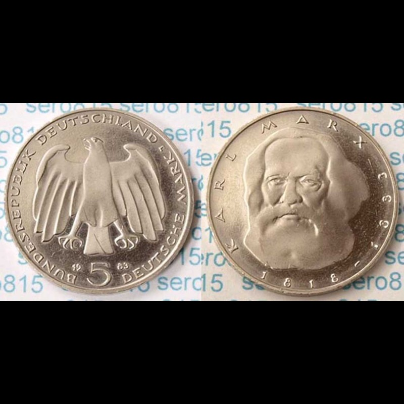 5 Dm Münze 1983 Karl Marx Jäger Nr 433 M358 Coinstampsde