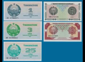 USBEKISTAN - UZBEKISTAN 5 Stück Banknoten 1992-94 UNC (18190