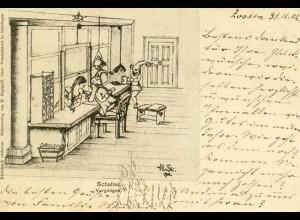 AK Schalter Vergnügen Zwerge Erotik signiert 1902 (0083