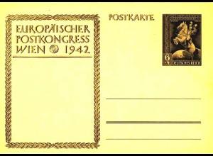3.Reich WW2 Ganzsache P294a Europa Postkongress 1942 * (0259