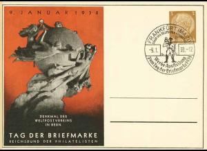 UPU 1938 DR WW2 seltene Privat-Ganzsache m.SST Tag der Briefmarke (0325