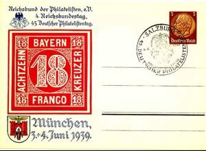 3.Reich Privat-Ganzsache 1939 PP122 SST Salzburg (0338