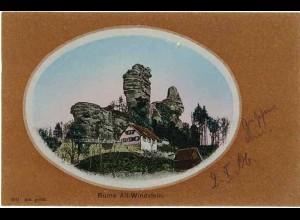 AK Elsass SILBER-Litho Ruine Windstein (1017
