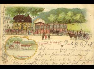 AK Litho Jagd Grunewald Restaurant Berlin Zehlend. (1935
