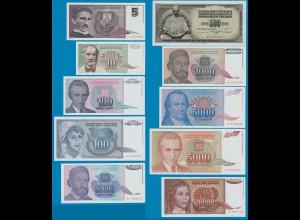 Jugoslawien - Yugoslavia 10 Stück Banknoten 5 - 50.000 Dinar UNC (18216