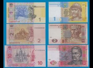 Ukraine - 1, 2, 10 Hryven Banknote 2005-06 UNC (18228
