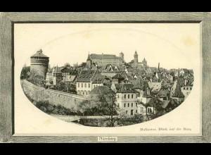 AK Rahmen Prägekarte Nürnberg Halletor Burg (1877