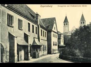 AK Regensburg Domgarten Niedermünster Kirche (1844