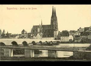 AK Regensburg Eisenbahn-Brücke Dom Donau (1841