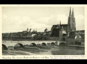 AK Regensburg steinerne Brücke Dom Donau (1840