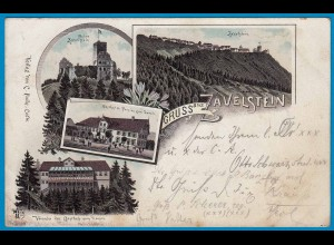AK Litho Burg Ruine Gasthof Zavelstein Calw 1897 (1637