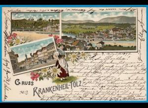 AK Litho Krankenheil-Tölz Isarbrücke 1897 (1784