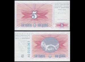Bosnia & Herzegovina - 5 Dinara Banknote 1994 UNC Pick 40 (14421